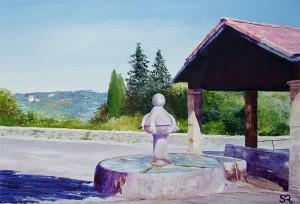 """""""La fontaine du Tholonet à Valensole"""" Huile au couteau sur toile - 35x24cm"""